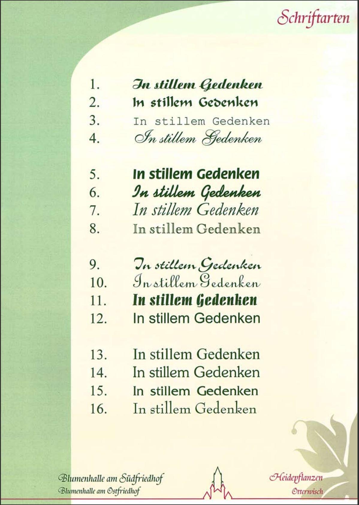 Schriftarten Katalog