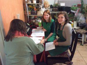Erasmus-Programm Schüleraustausch mit Frankreich. Der erste Tag in der Blumenhalle am Südfriedhof Leipzig
